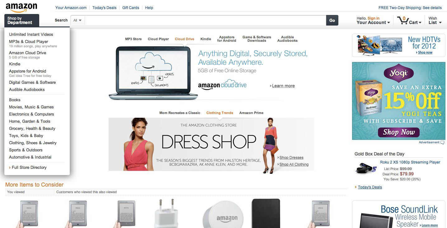 Amazon.com mit großem Redesign