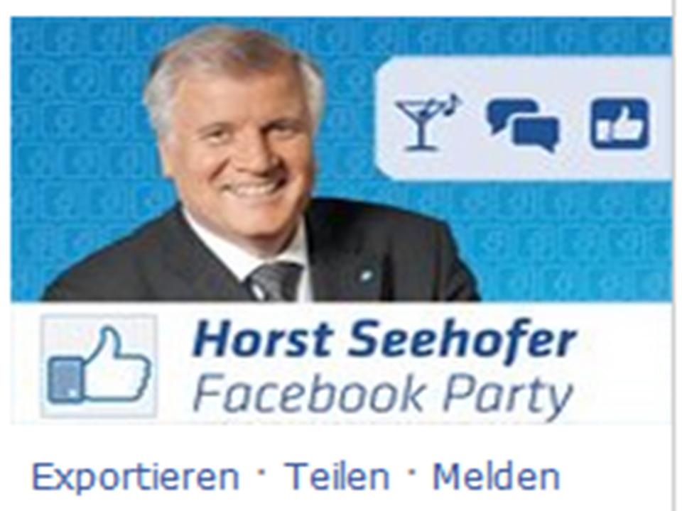 Seehofer lädt zur Facebook Party