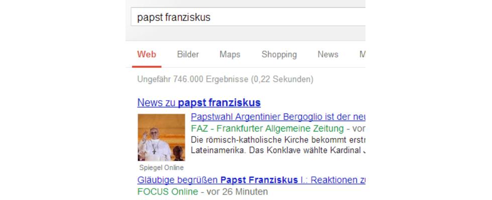 Der neue Papst und News-SEO: Focus.de räumt ab