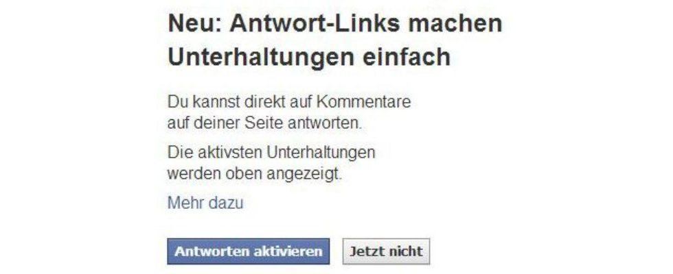 Neue Funktion in Facebook aktivierbar