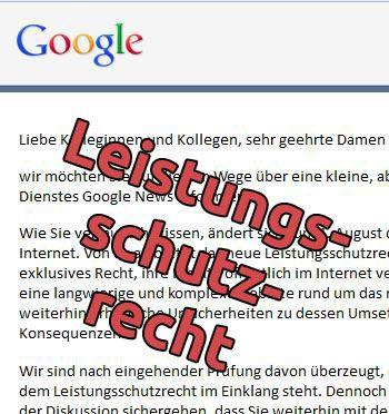 Leistungsschutzrecht: Einverständniserklärung zur weiteren Aufnahme in den Google News nötig
