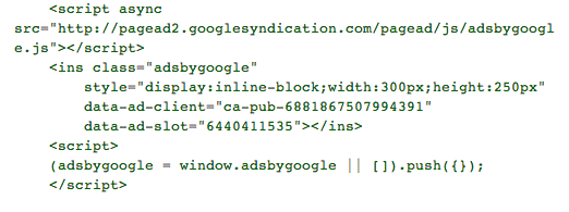 AdSense-asynchronous-ad-code-example