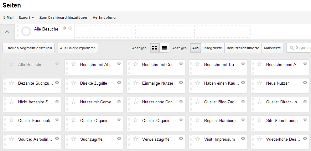 Neue Segmentierungsfunktion in Google Analytics