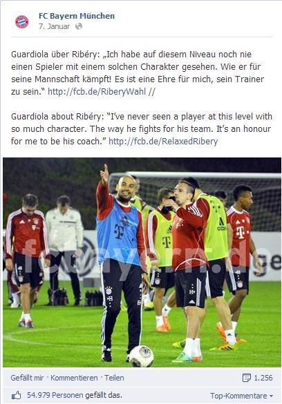 Pep Guardiola auf Facebook