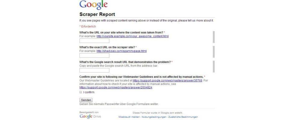 Scraper Sites: Den Content-Dieben geht es mit Googles neuer Scraper Report form an den Kragen