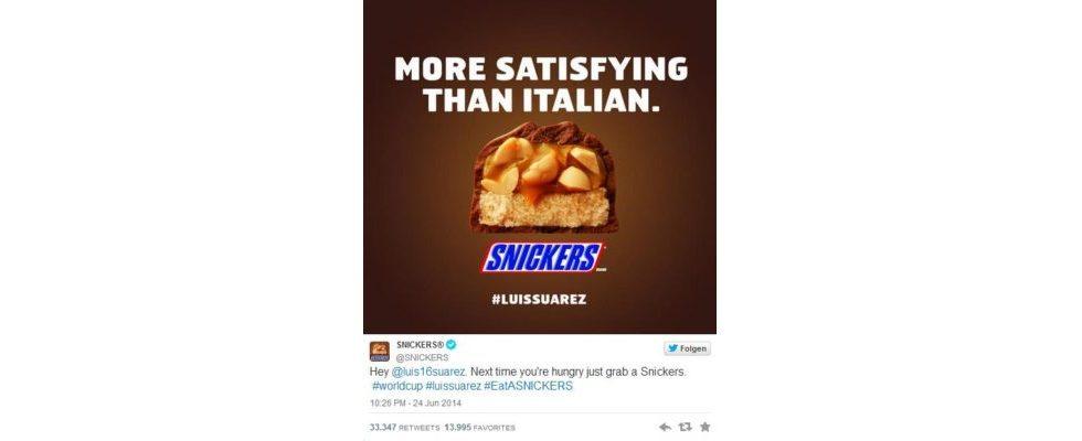Den Schulter-Biss von Luis Suárez bei der WM 2014 nutzten viele Brands für raffiniertes Marketing