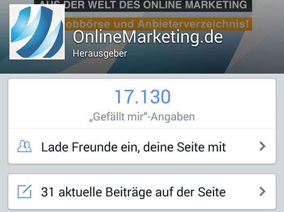 Facebook Seitenmanager App
