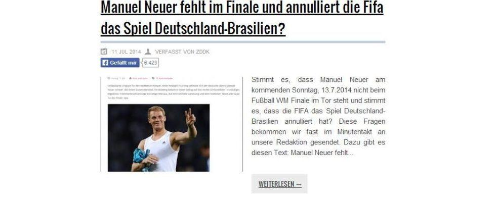 """""""Manuel Neuer fehlt im Finale"""" – wie Fake-Nachrichtenportale Traffic ziehen"""