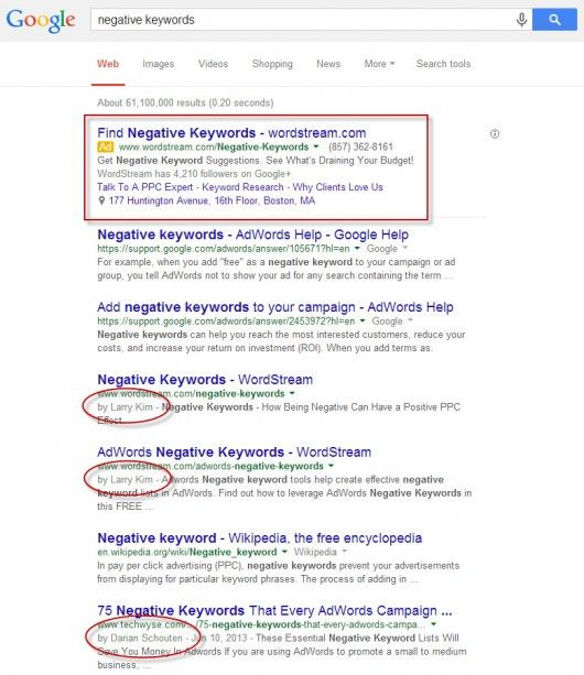 google-negative-keywords-serp