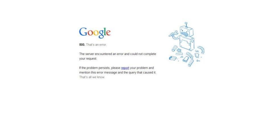 Google-Produkte und -Dienste waren in über 30 Ländern minutenlang nicht verfügbar