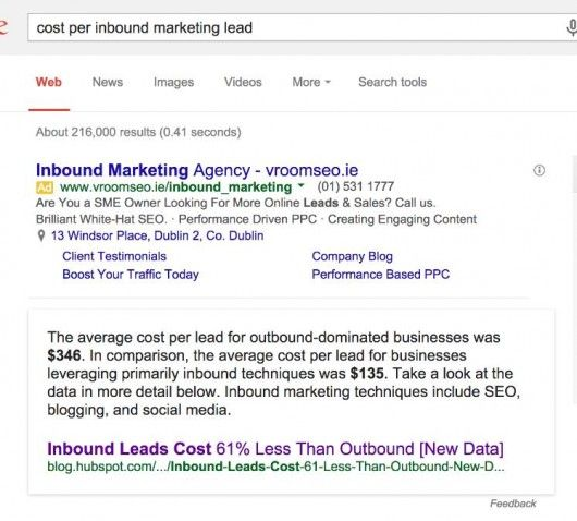 cost per inbound marketing google scrape