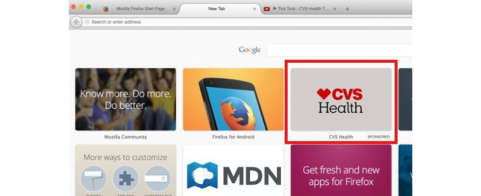Enhanced Tiles: Mozilla launcht Ads in jedem Firefox Tab