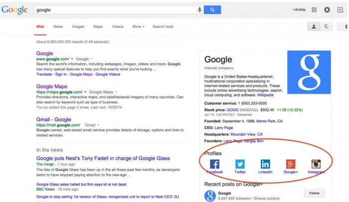 Google Knowledge Graph: Social Media Profile