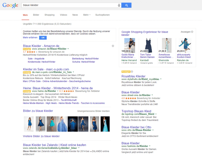 Google-Suche blaue Kleider