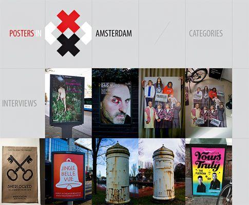 Diese Webseite ist strukturiert, wie eine Galerie, was sie trotz vieler Inhalte aufgeräumt wirken lässt. ©postersinamsterdam.com