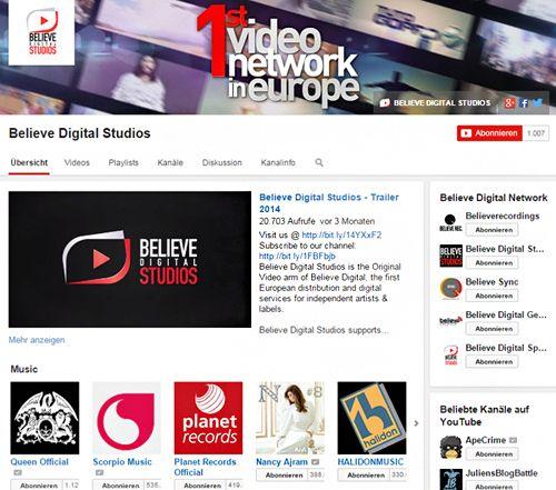 Der Believe Digital-Channel auf YouTube