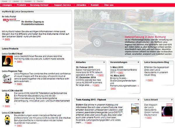 Ein Mix aus englischem und deutschem Fachjargon - Laien werden mit der Webseite nicht sehr viel anfangen können © www.leica-geosystems.de