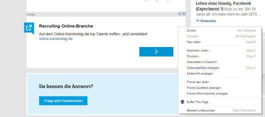 AdSense Werbung auf gutefrage.net ohne Möglichkeit, diese durch das Tool zu blockieren / Screenshot 07.07.15