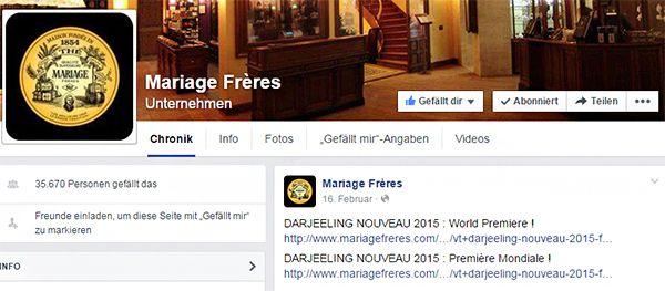 Das letzte Facebook-Post des Teehändlers Mariage Frères ist aus dem Februar dieses Jahres.