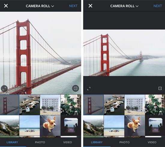 Fotos im Bearbeittungsmodus: Links das voreingestellte Quadrat, rechts das neue Querformat