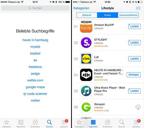 """Die HEUTE IN HAMBURG-App schaffte es in """"Beliebte Suchbegriffe"""" und erreichte Platz 24 in den Charts der Kategorie Lifestyle im App Store."""