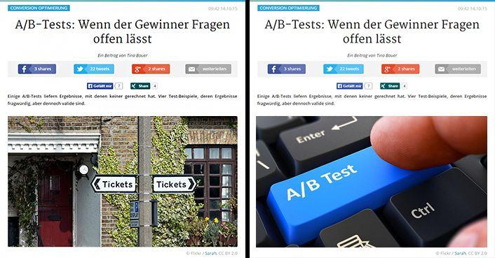 Zwei Varianten für das Thema A/B-Test.  Die Tastatur gibt es zu allen Thematiken und man hat sie so häufig gesehen, dass sie keine Aufmerksamkeit erzeugen kann.
