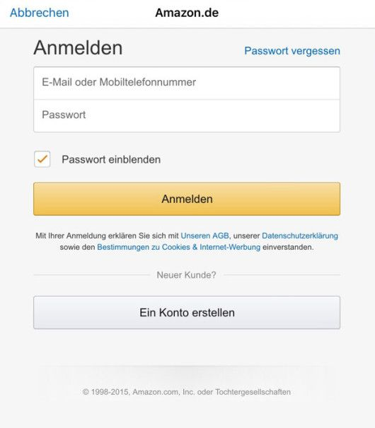 amazon registrierungsprozess