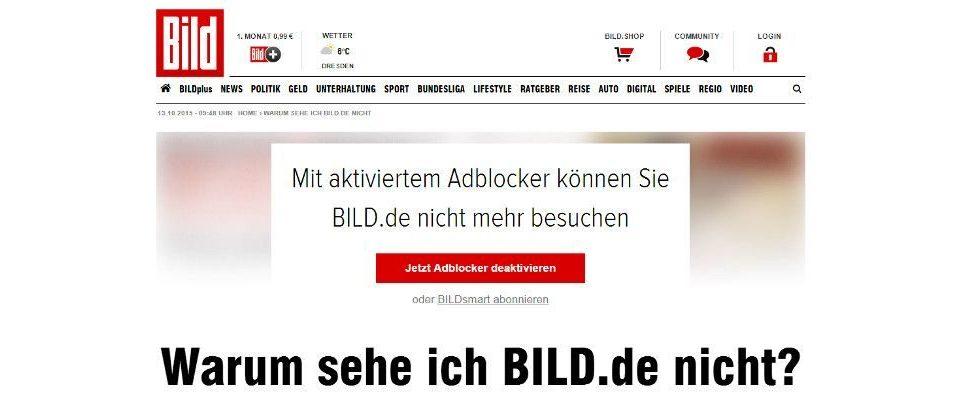 Keine Inhalte für Adblock-User: BILD.de erklärt Adblockern den Krieg