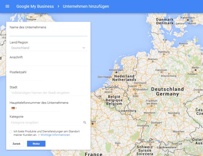 So sieht eine Anmeldung bei Google MyBusiness aus.
