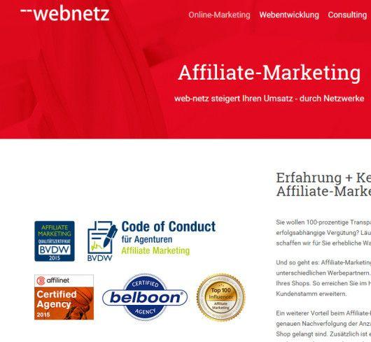 Die Lüneburger Agentur web-netz wirbt mit dem Siegel des BVDW auf ihrer Website