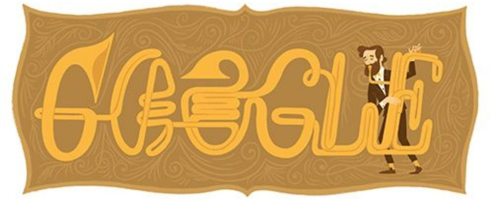 Google Doodle von heute: 201. Geburtstag von Adolphe Sax
