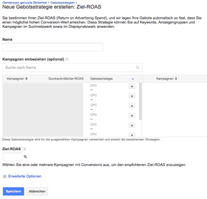Google AdWords ROAS Einstellung