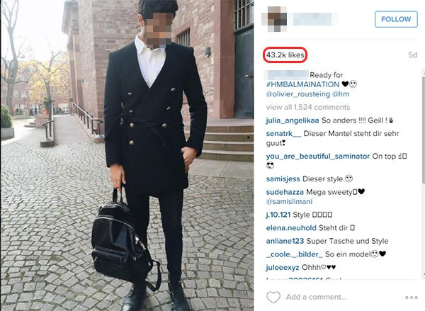 Dieser Influencer weist über eine Millionen Follower auf und verfügt über massive Reichweite. Mit diesem Post erzielte er mehr als 43.000 Likes.