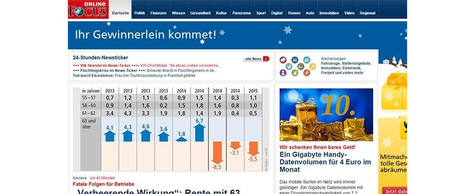 AGOF Top 15 – Focus Online löst Bild.de als reichweitenstärkstes Newsportal ab