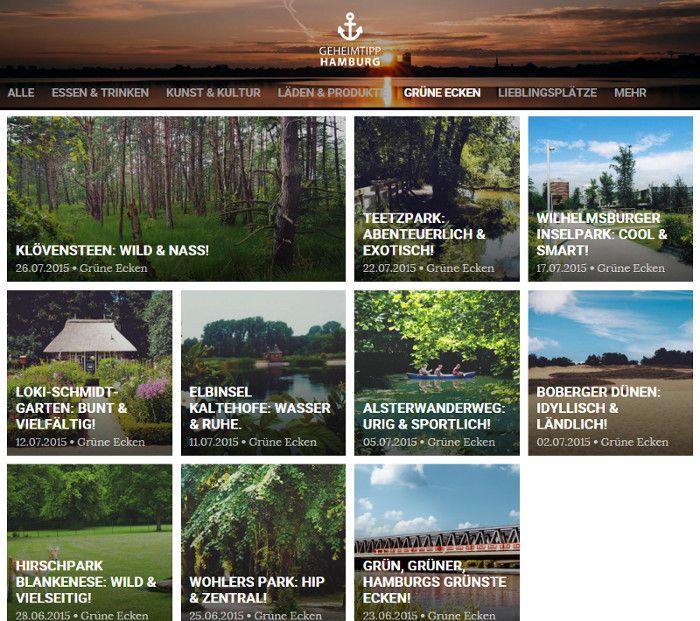"""Das neu geschaffene Ressort """"Grüne Ecken"""" auf der Geheimtipp Hamburg Website"""