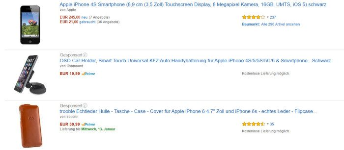 "Anzeigen auf das Keyword ""Smartphone Apple"", Screenshot Amazon.de"