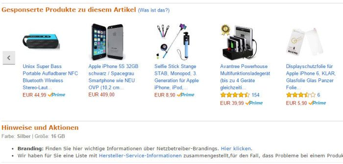 Amazon Gesponserte Produkte auf einer Produktseite, Screenshot Amazon.de
