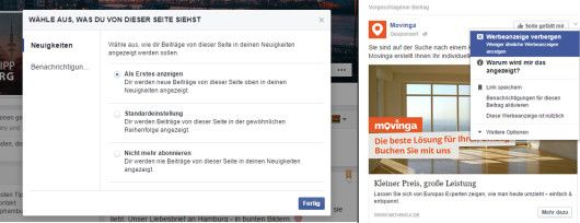Facebook Newsfeed Optionen