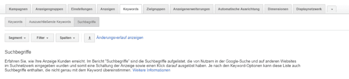 Google AdWords Suchbegriffe