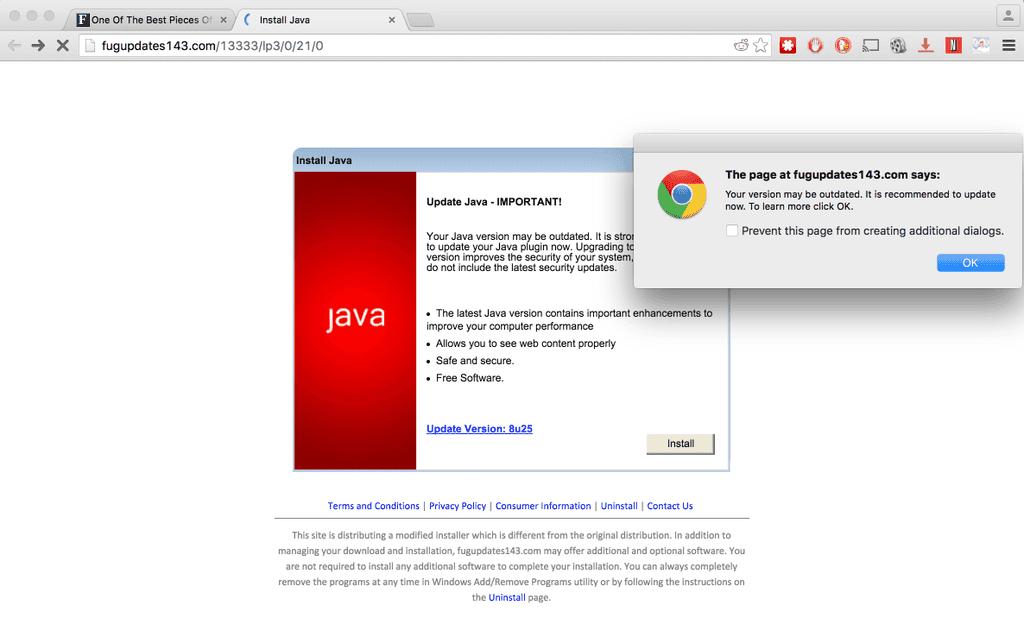 Pop-Under Malware auf Forbes: Dieses Fenster öffnete sich nachdem der Adblocker deaktiviert wurde.