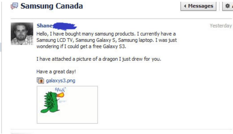 © bufferapp, Nachricht eines Kunden an Samsung