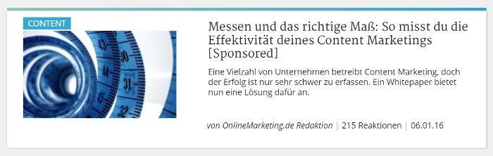 Sponsored Post Onlinemarketing.de