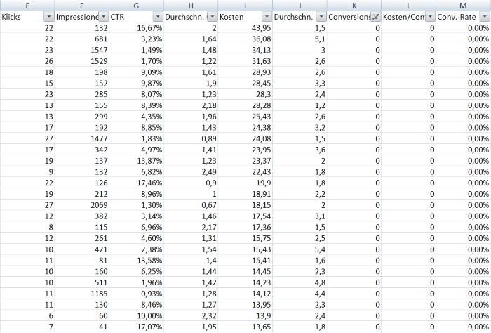 Suchbegriffe mit Excel analysieren