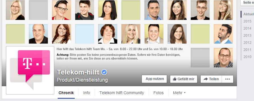 """Screenshot der Facebookseite """"telekom-hilft"""""""