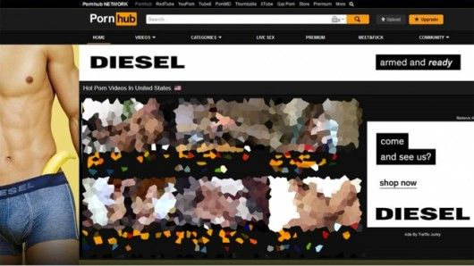 Diesel ist mit großen Werbebannern bei Pornhub präsent, © Adweek