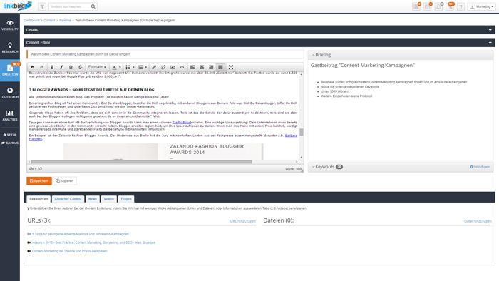 Der Redaktionsbereich der Content Marketing Software