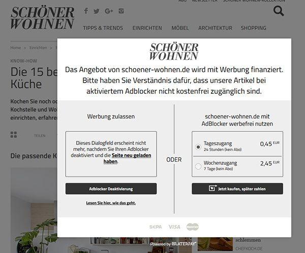 Die Content-Sperre auf schöner-wohnen.de mit aktiviertem Adblocker