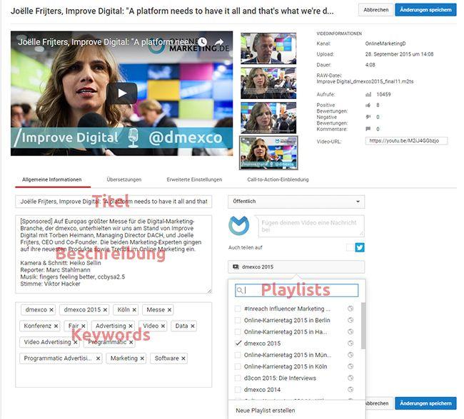 Im Screenshot sind einige der beschriebenen Funktionen zu sehen, die es zu optimieren gilt.