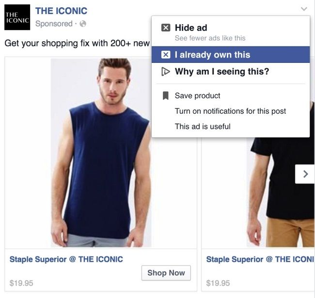 """""""I already own this""""-Funktion auf Facebook, © SocialTimes"""