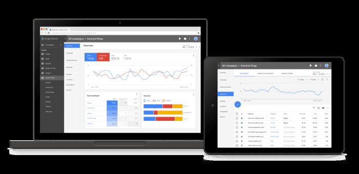Ein Blick auf das neue Design von Google AdWords, © Google